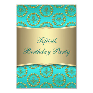 Gold Crest Teal Womans 50th Birthday Party Card
