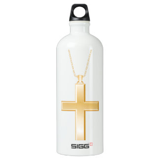 Gold cross and chain, looks like real jewelry. aluminum water bottle