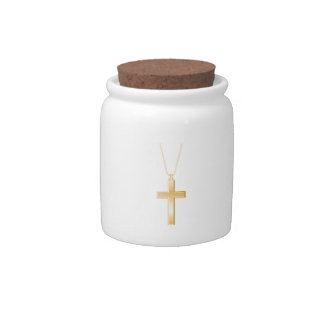Gold cross and chain, looks like real jewelry. candy jars
