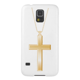 Gold cross and chain, looks like real jewelry. galaxy s5 case