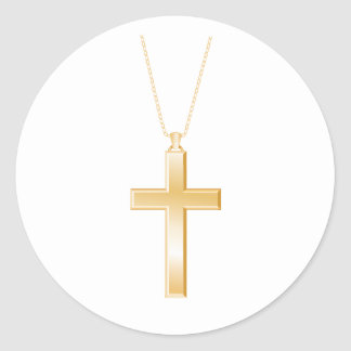 Gold cross and chain, looks like real jewelry. classic round sticker