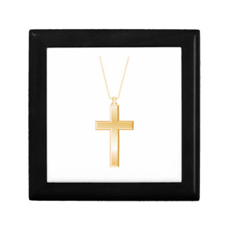 Gold cross and chain, looks like real jewelry. gift boxes