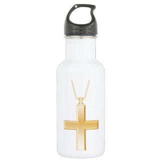 Gold cross and chain, looks like real jewelry. stainless steel water bottle