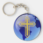 Gold Cross and Earth Basic Round Button Keychain