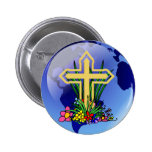Gold Cross and Flowers 2 Inch Round Button