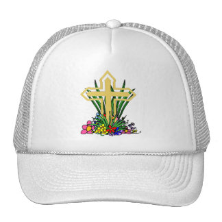 Gold Cross and Flowers Trucker Hat