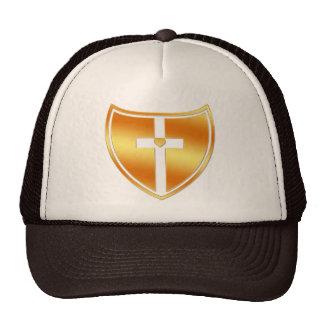 Gold Cross and Heart Shield Trucker Hat