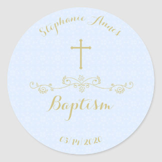 Gold Cross and Laurels in Light Blue Classic Round Sticker