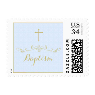 Gold Cross and Laurels in Light Blue Postage