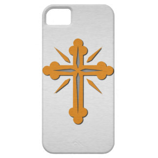 Gold Cross and Platinum Stainless Steel Metal iPhone SE/5/5s Case