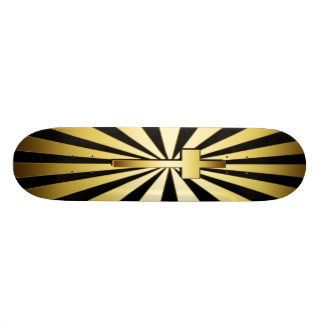 GOLD CROSS AND RAYS SKATE DECK