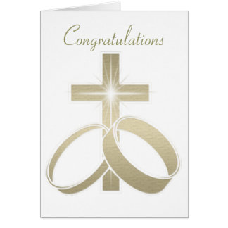 Gold Cross and Wedding Rings Art Card