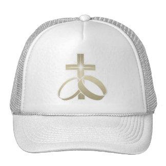 Gold Cross and Wedding Rings Art Trucker Hats