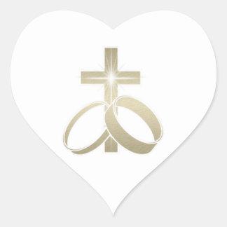 Gold Cross and Wedding Rings Art Heart Sticker