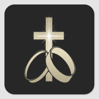 Gold Cross and Wedding Rings Art Square Sticker