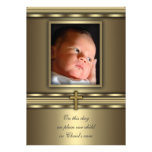 Gold Cross Baby Boy Photo Baptism Christening Personalized Announcements