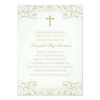 Gold Cross Baptism/Christening Invitation