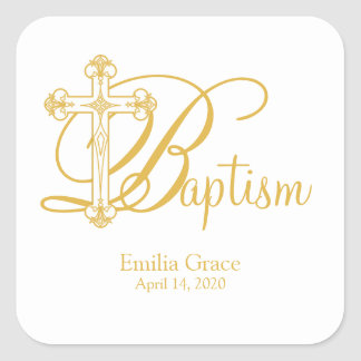 gold cross BAPTISM custom party favor label