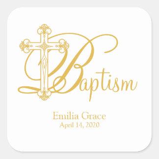 gold cross BAPTISM custom party favor label Square Sticker