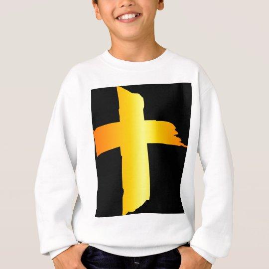 Gold Cross Black BackGround Sweatshirt