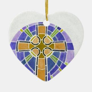gold cross ceramic ornament