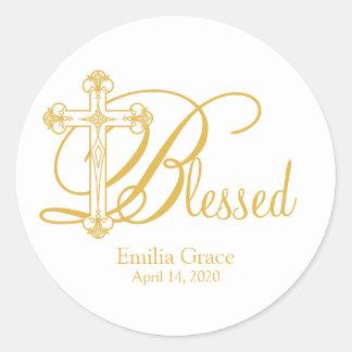 gold cross CHRISTENING custom party favor label Classic Round Sticker