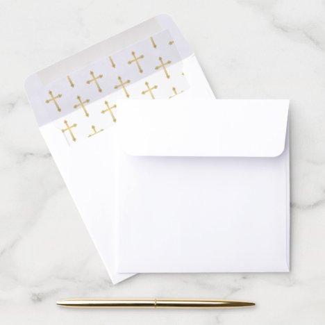 Gold Cross Christian Envelope Liner