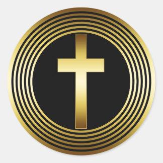 GOLD CROSS CLASSIC ROUND STICKER