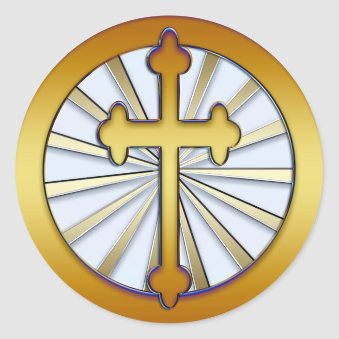 GOLD CROSS CLASSIC ROUND STICKER