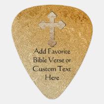 Gold Cross Custom Bible Verse Guitar Pick