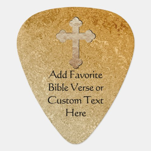 Gold Cross Custom Bible Verse Guitar Pick