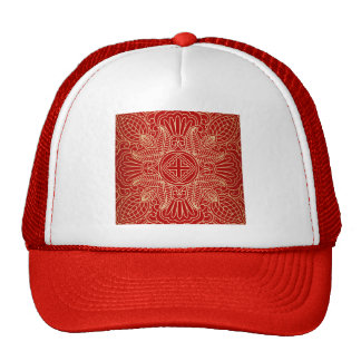 gold cross,floral pattern,red,beautiful,antique trucker hat