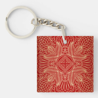 gold cross,floral pattern,red,beautiful,antique, Double-Sided square acrylic keychain