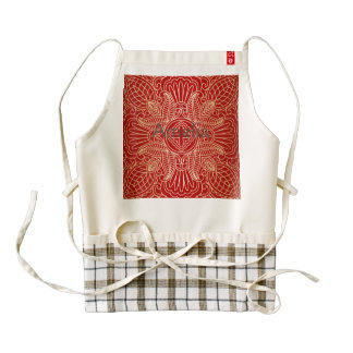 gold cross,floral pattern,red,beautiful,antique, zazzle HEART apron