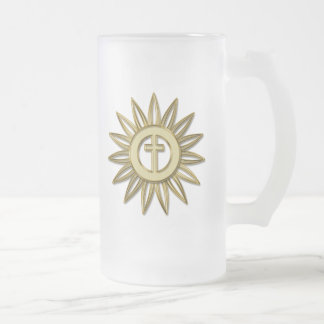 Gold Cross Flower Frosted Glass Beer Mug