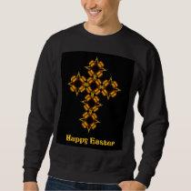 Gold Cross Fractal Happy Easter Sweatshirt