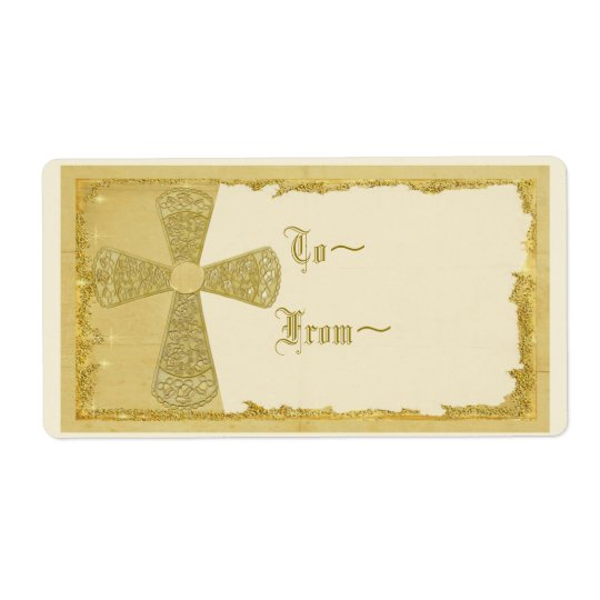 Gold Cross Gift Tag