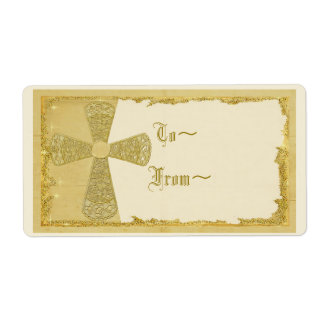 Gold Cross Gift Tag Personalized Shipping Label