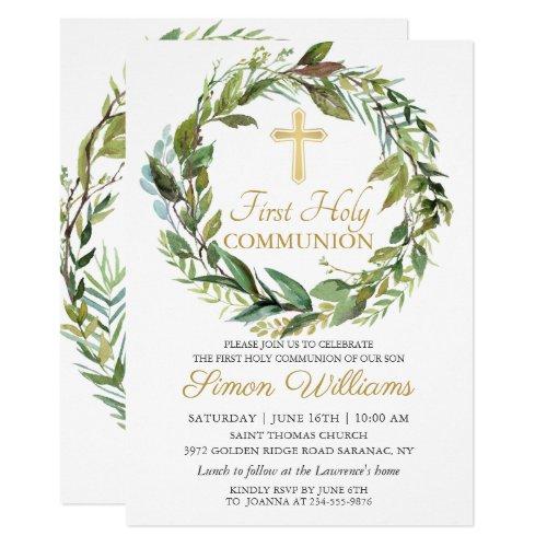 Gold Cross Greenery Wreath First Holy Communion Invitation