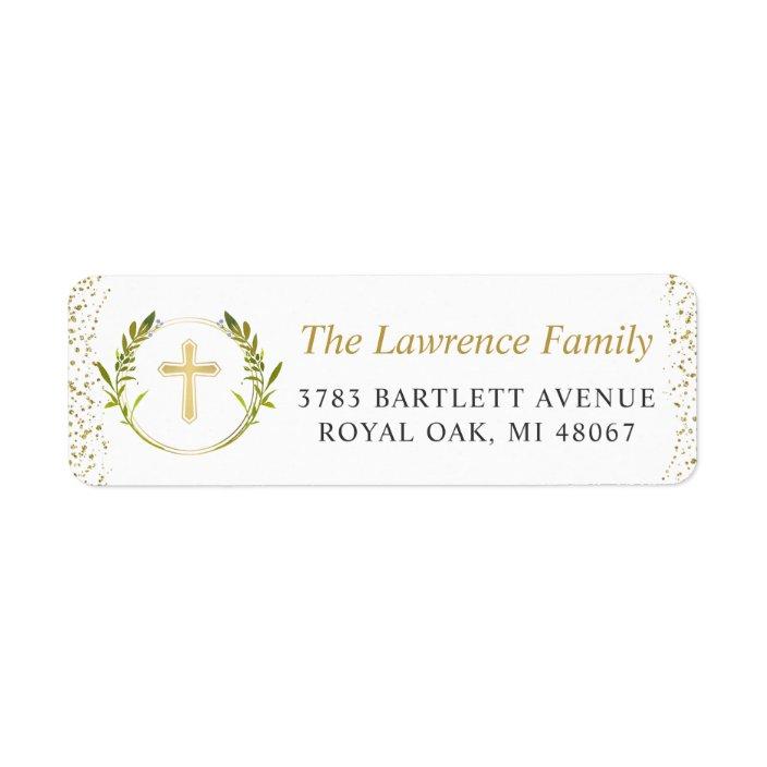 Gold Laurel Return Address Sticker