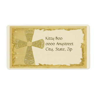 Gold Cross Large Personalized Shipping Label