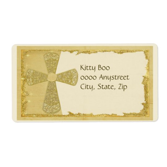 Gold Cross Large Label
