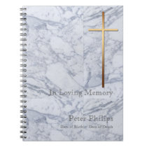 Gold Cross Marble 2 Funeral Memorial Guest Book
