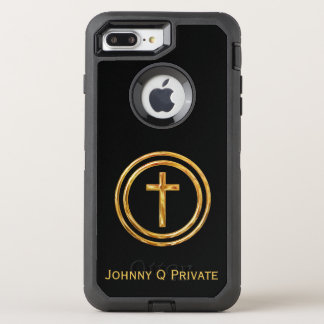 Gold Cross Name Template OtterBox Defender iPhone 8 Plus/7 Plus Case