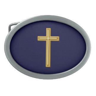 Gold Cross on Blue Belt Buckle