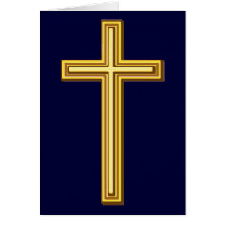 Gold Cross on Blue Card