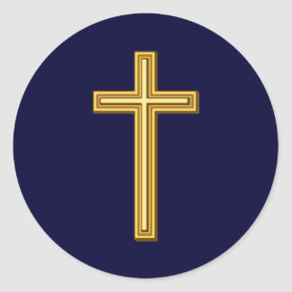 Gold Cross on Blue Classic Round Sticker