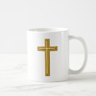 Gold Cross on Blue Coffee Mug