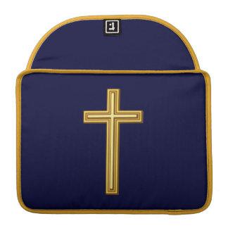 Gold Cross on Blue MacBook Pro Sleeve