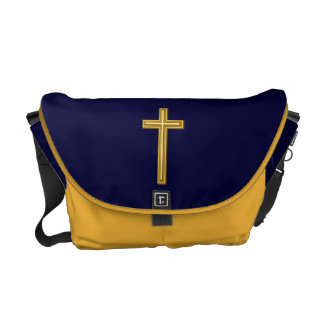 Gold Cross on Blue Messenger Bag